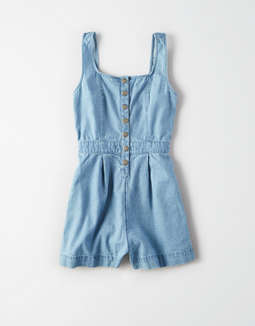 Ae Placket Front Denim Romper by American Eagle Outfitters