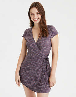AE Printed Short Sleeve Wrap Dress