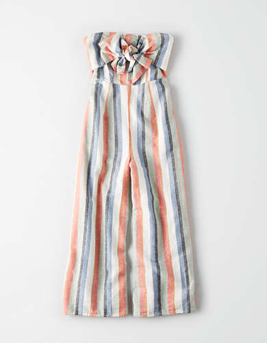 AE Striped Tie Front Jumpsuit