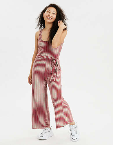 AE Striped Tie Waist Jumpsuit