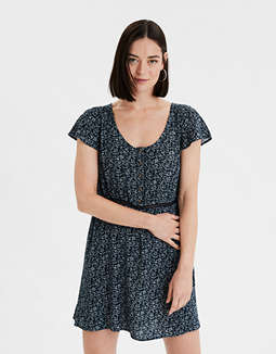 AE Printed Babydoll Mini Dress