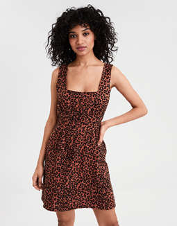 AE Leopard Print Square Neck Dress