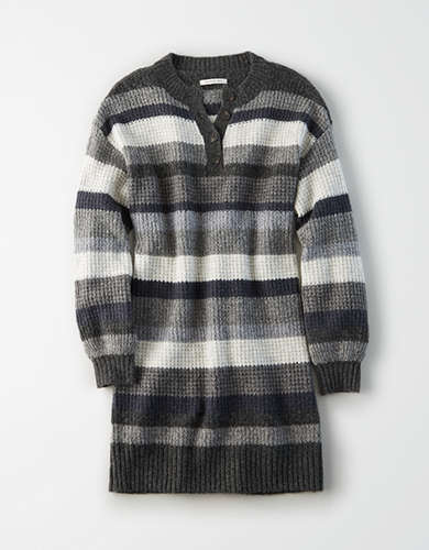AE Striped Henley Neck Sweater Dress