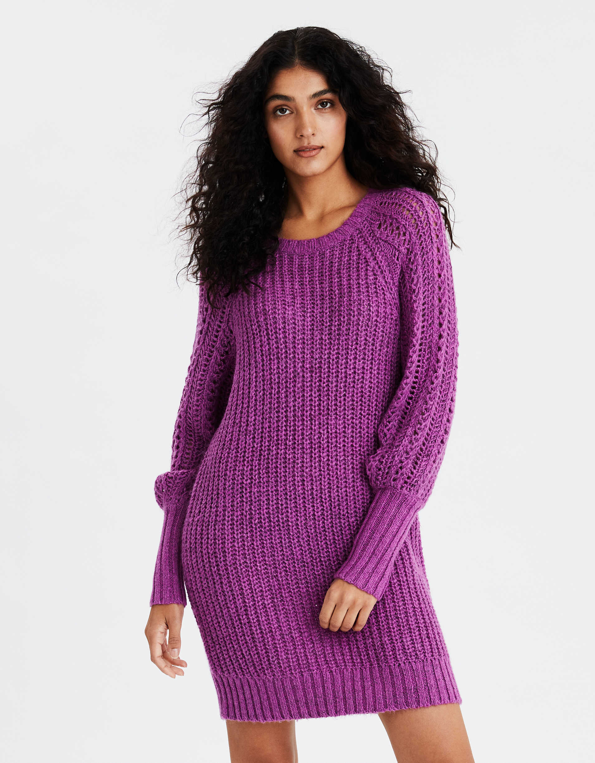 AE Pointelle Long Sleeve Sweater Dress