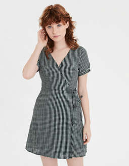 AE Plaid Tie Sleeve Wrap Dress