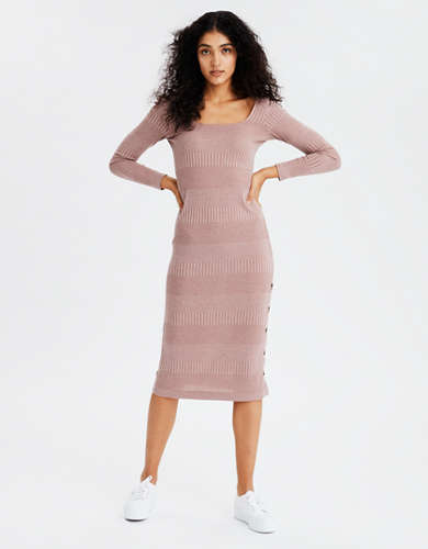 AE Knit Button Front Midi Dress