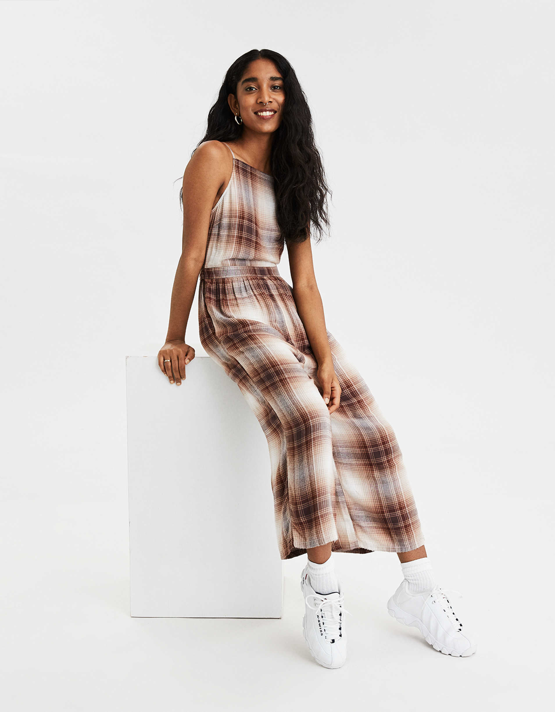 AE Plaid High Neck Jumpsuit