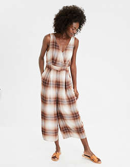 AE Plaid Pleated Jumpsuit