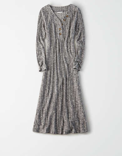 AE Knit Long Sleeve Henley Neck Dress