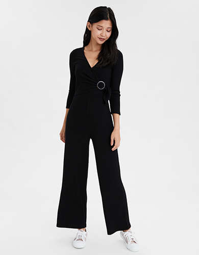 AE Long Sleeve Surplice Jumpsuit