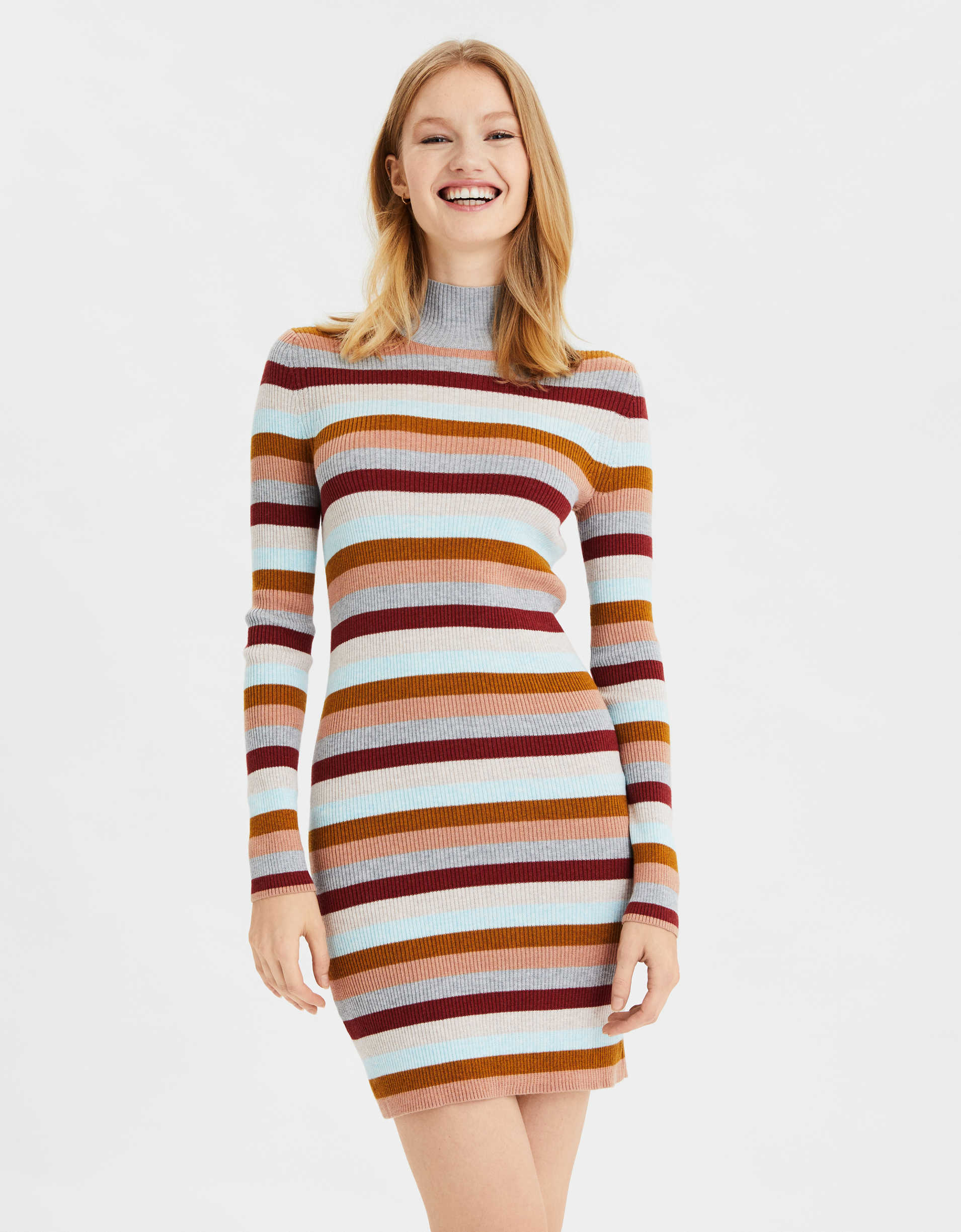 AE Striped Mock Neck Sweater Dress