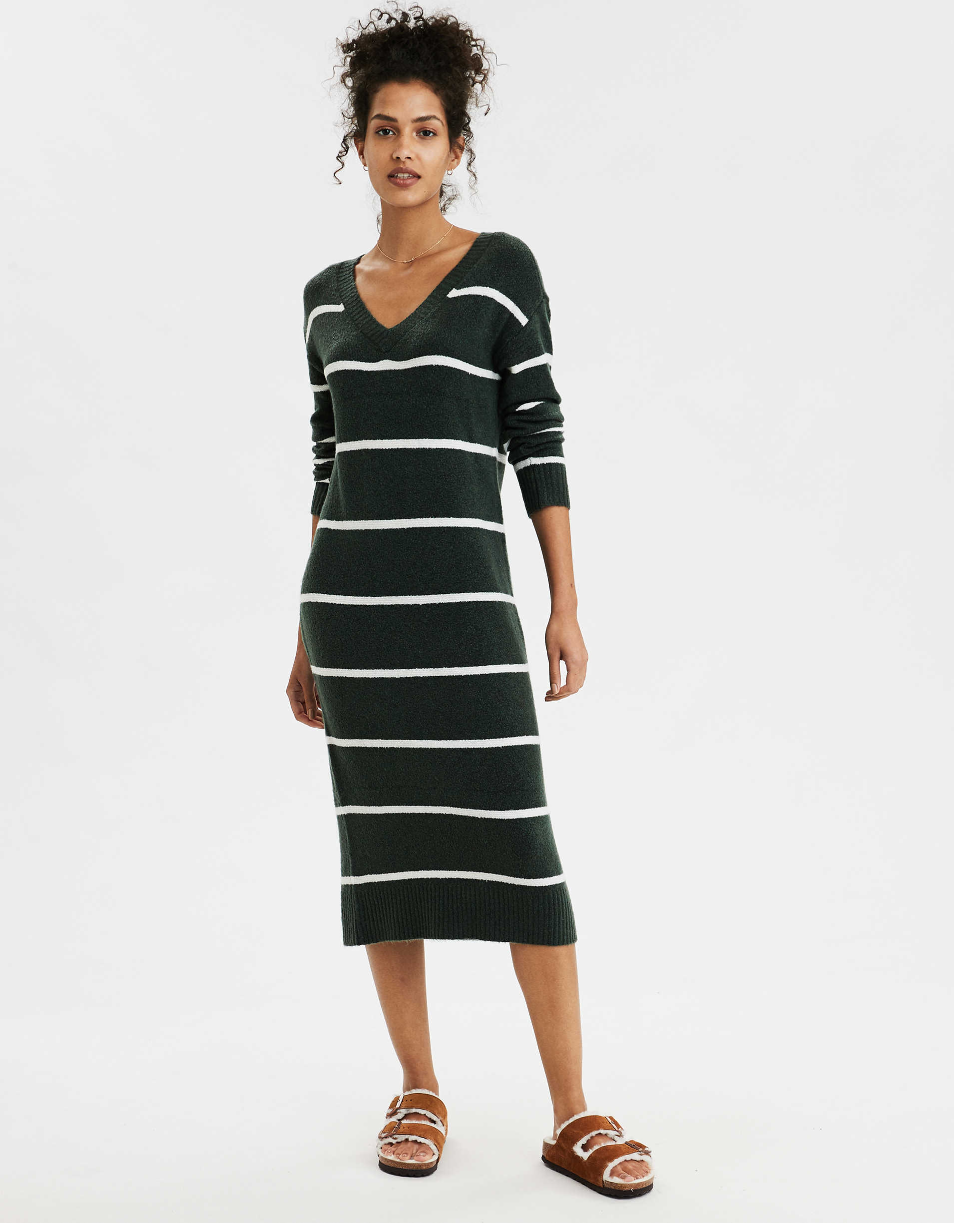 AE Striped V-Neck Sweater Dress
