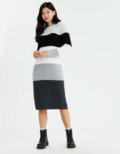 AE Striped Crew Neck Sweater Dress
