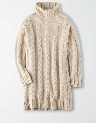 AE Cable Knit Turtleneck Sweater Dress