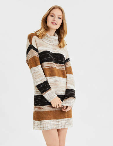 AE Striped Cowl Neck Sweater Dress