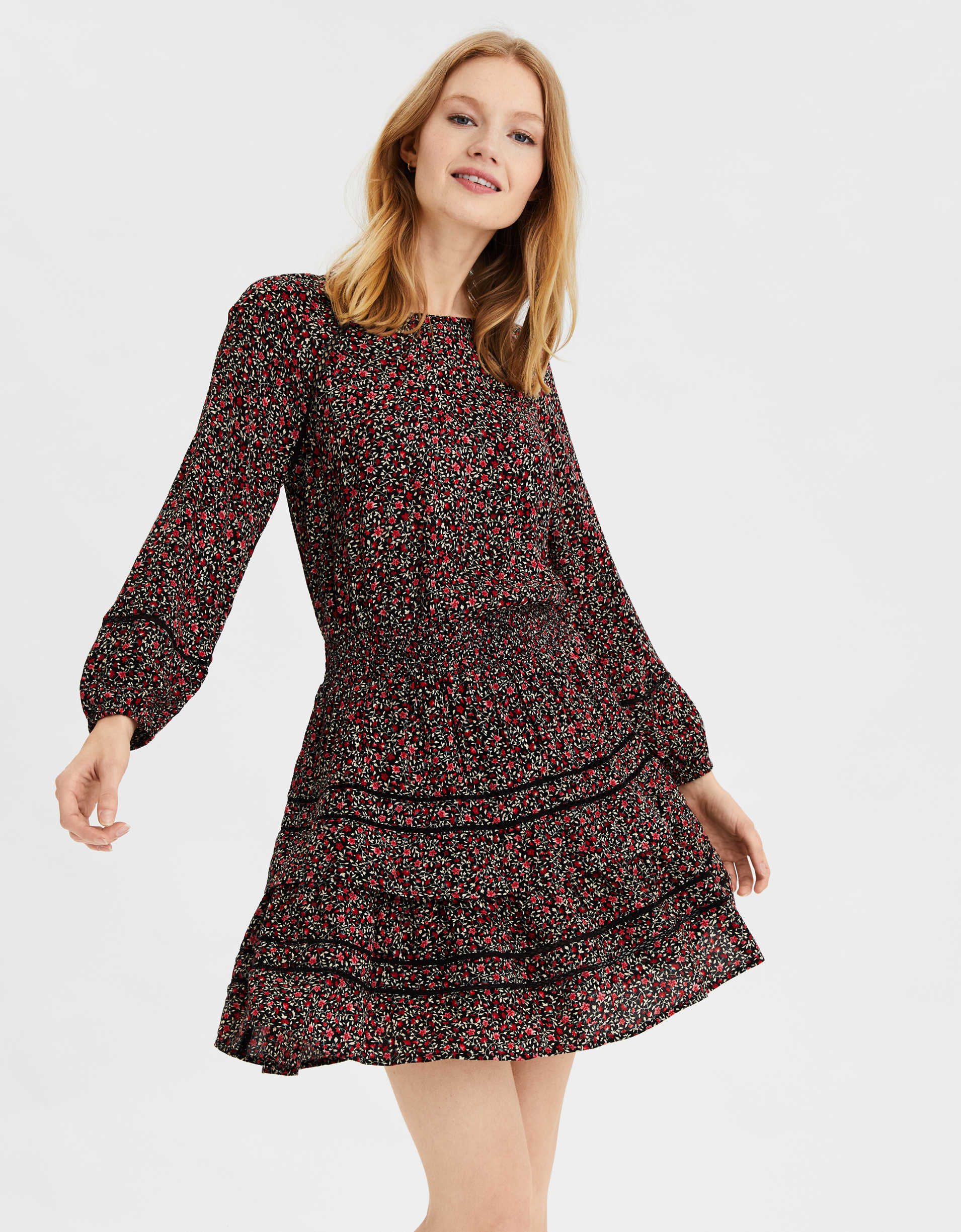 Ae Printed Tiered Mini Dress by American Eagle Outfitters