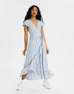 AE Striped Wrap Maxi Dress