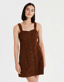 AE Button Front Corduroy Dress