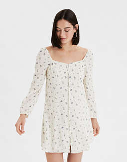 AE Printed Long Sleeve Swing Dress