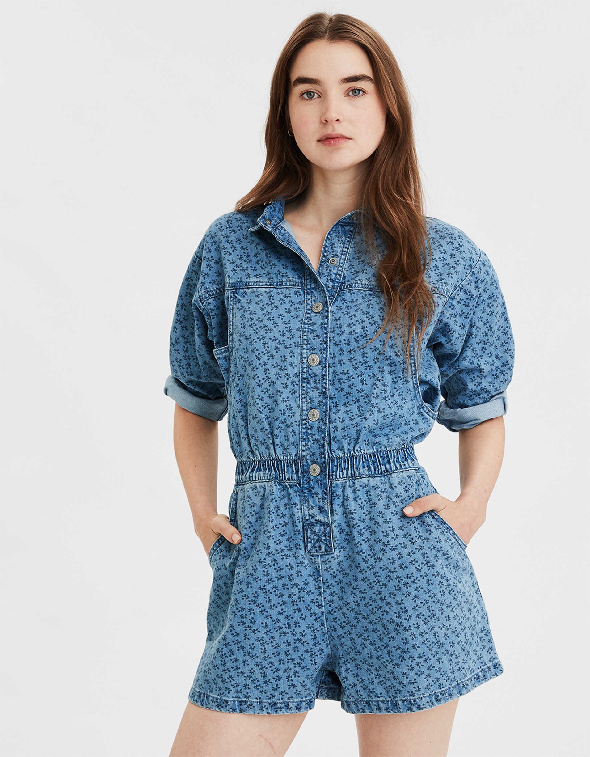 AE Denim Coverall Romper