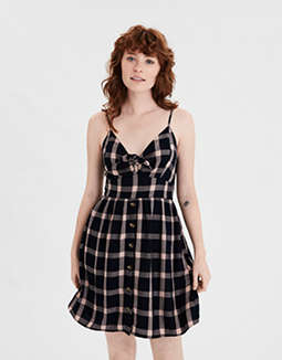AE Plaid Tie Front Dress
