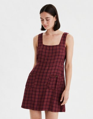 Ae Plaid Square Neck Dress by American Eagle Outfitters