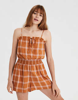 AE Plaid Off-The-Shoulder Romper