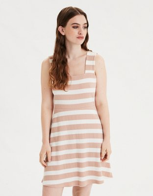 Ae Striped Knit Square Neck Dress by American Eagle Outfitters