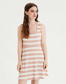 AE Striped Knit Square Neck Dress