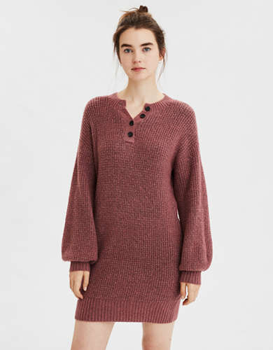 AE Henley Neck Sweater Dress