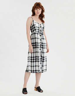 AE Plaid Button Front Shirt Dress