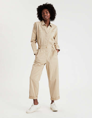 AE Long Sleeve Button Front Jumpsuit