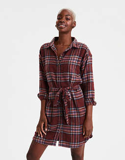 AE Plaid Long Sleeve Shirt Dress