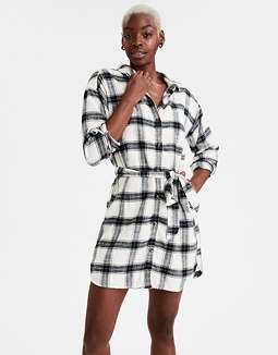 AE Plaid Lined Shirt Dress