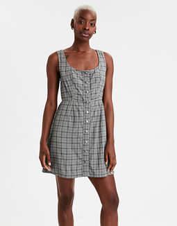 AE Plaid Button Front Mini Dress