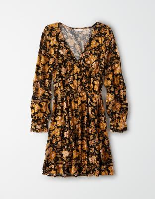 AE Long-Sleeve Wrap Dress
