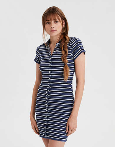 AE Striped Knit Polo Dress
