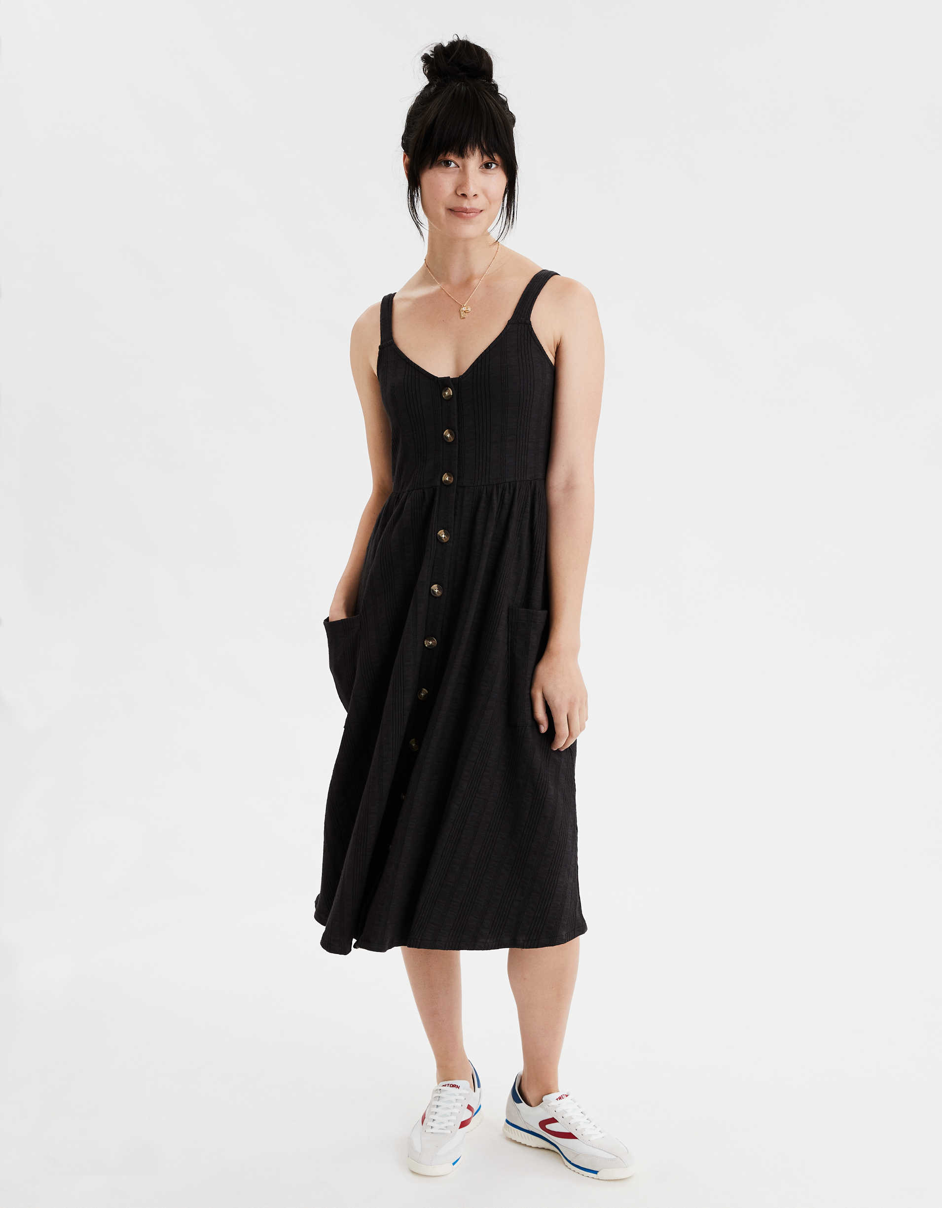AE Knit Button Front Pocket Dress
