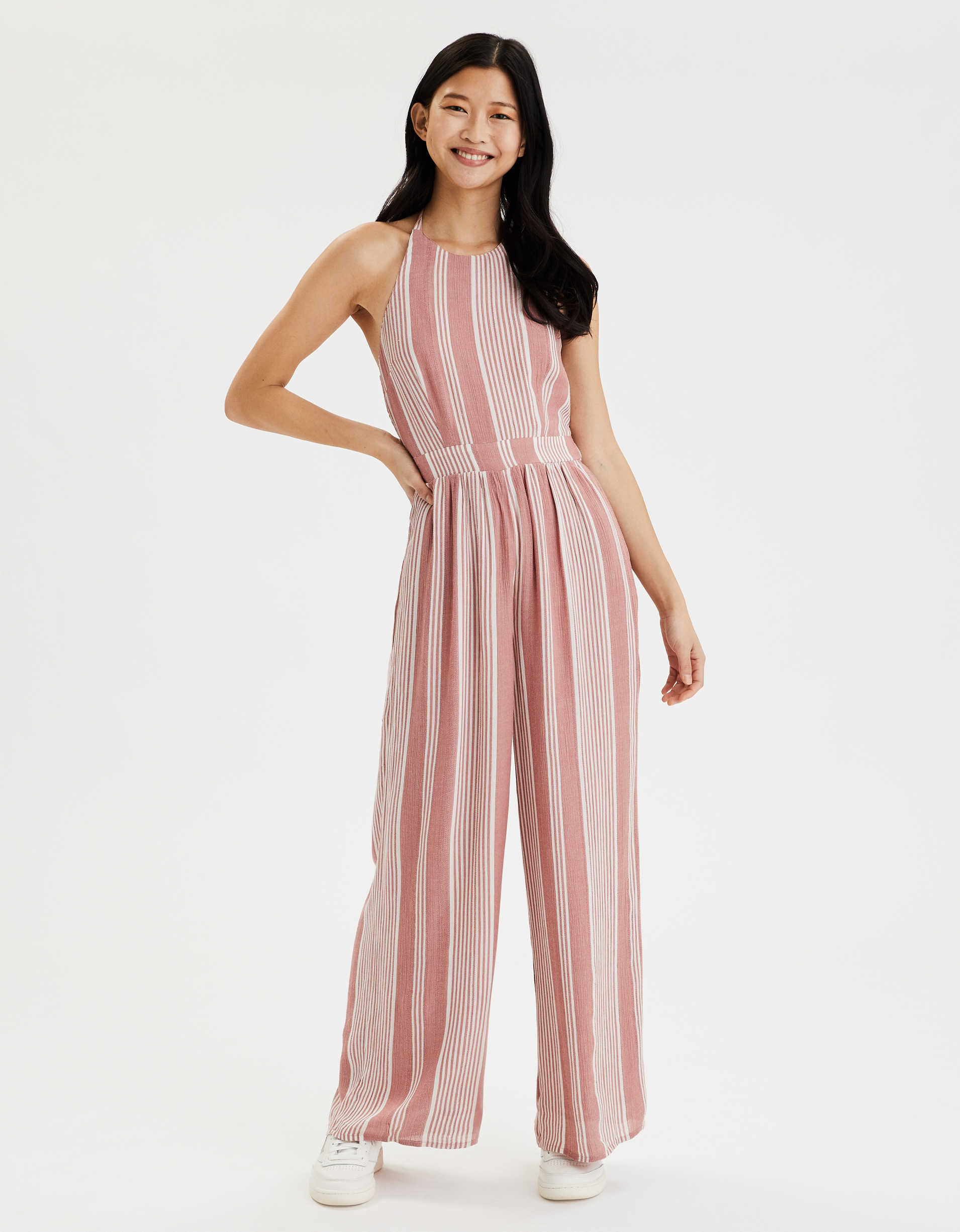 AE Striped High Neck Jumpsuit