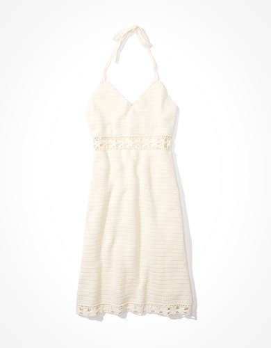 AE Crochet Halter Mini Dress