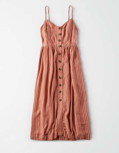 AE Striped Button Front Midi Dress