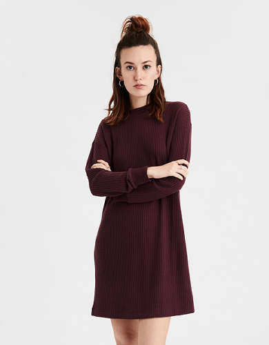 AE Plush Waffle Long Sleeve Dress