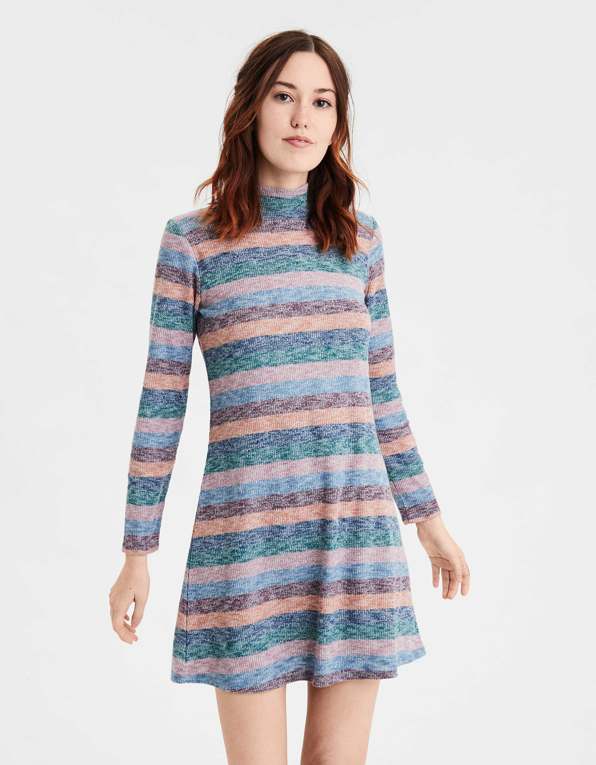 Ae Plush Striped Turtleneck Dress