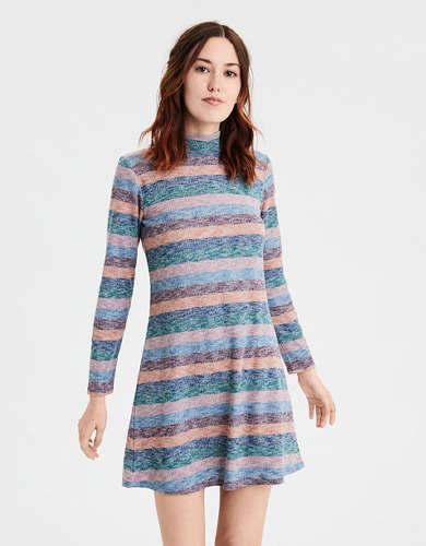 AE Plush Striped Turtleneck Dress