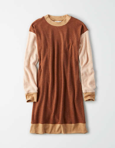 AE Plush Color Block Long Sleeve Dress