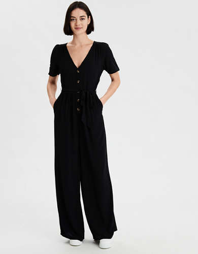 AE Short Sleeve Button Front Jumpsuit