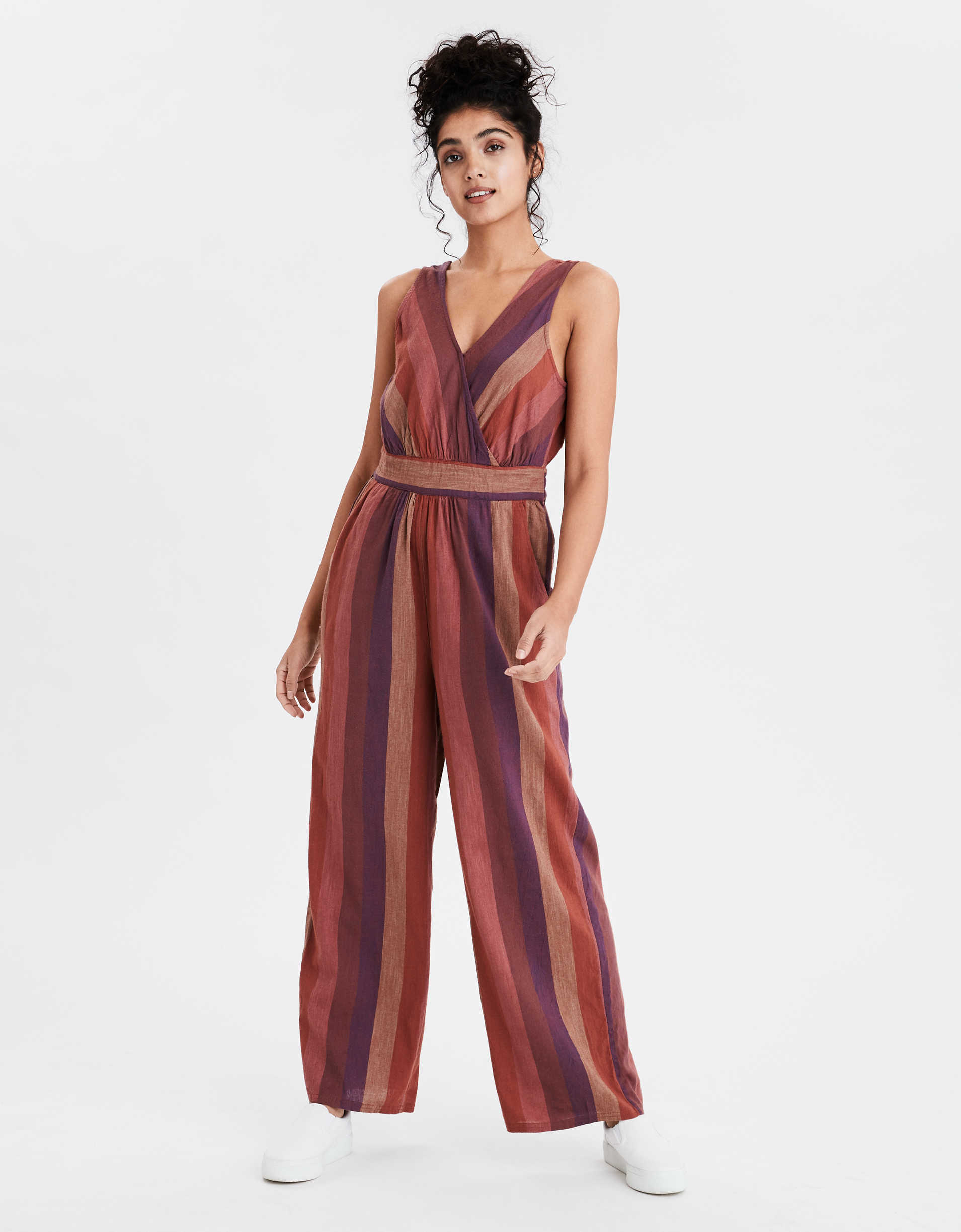 Ae Striped V Neck Jumpsuit by American Eagle Outfitters