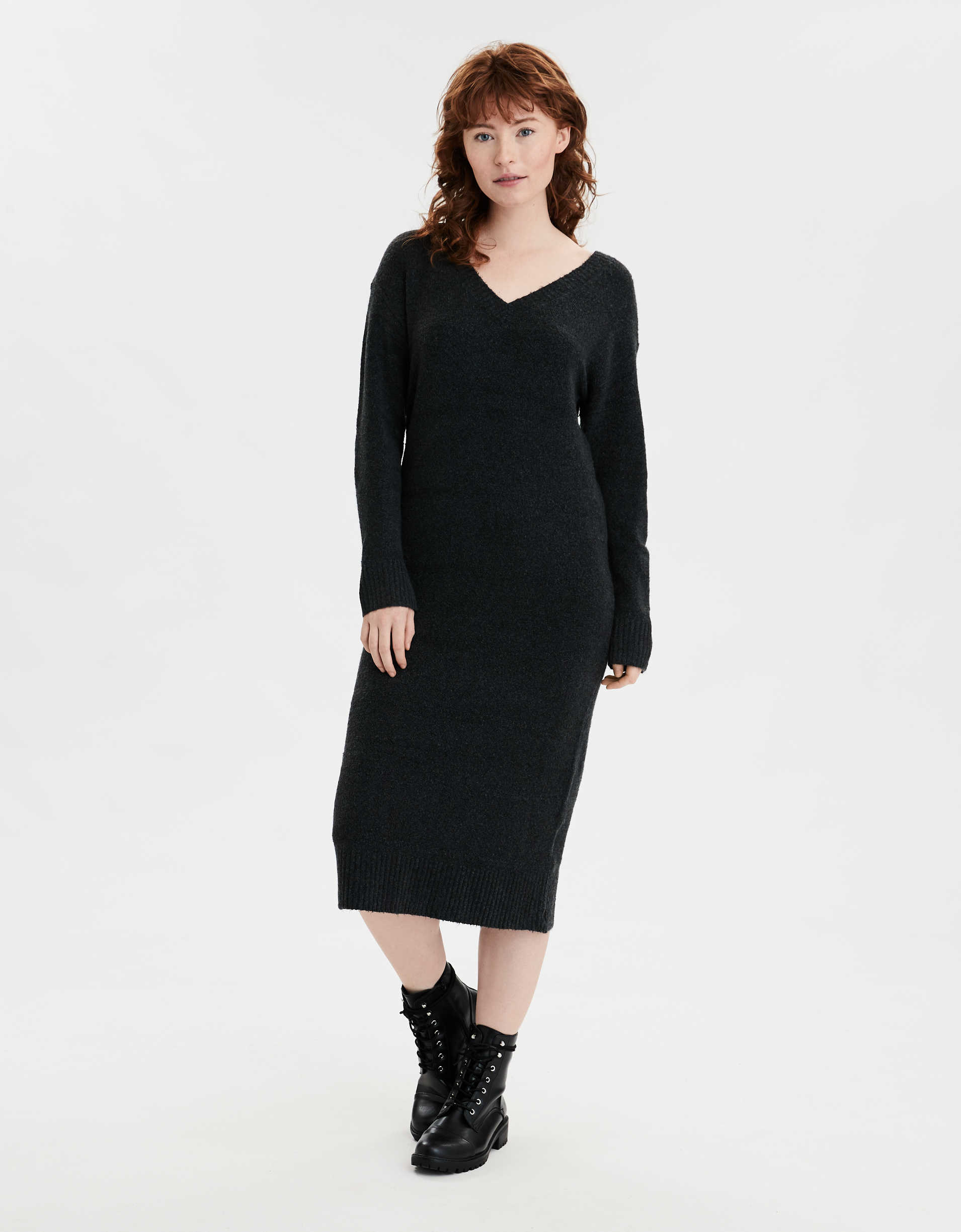 AE V-Neck Midi Sweater Dress
