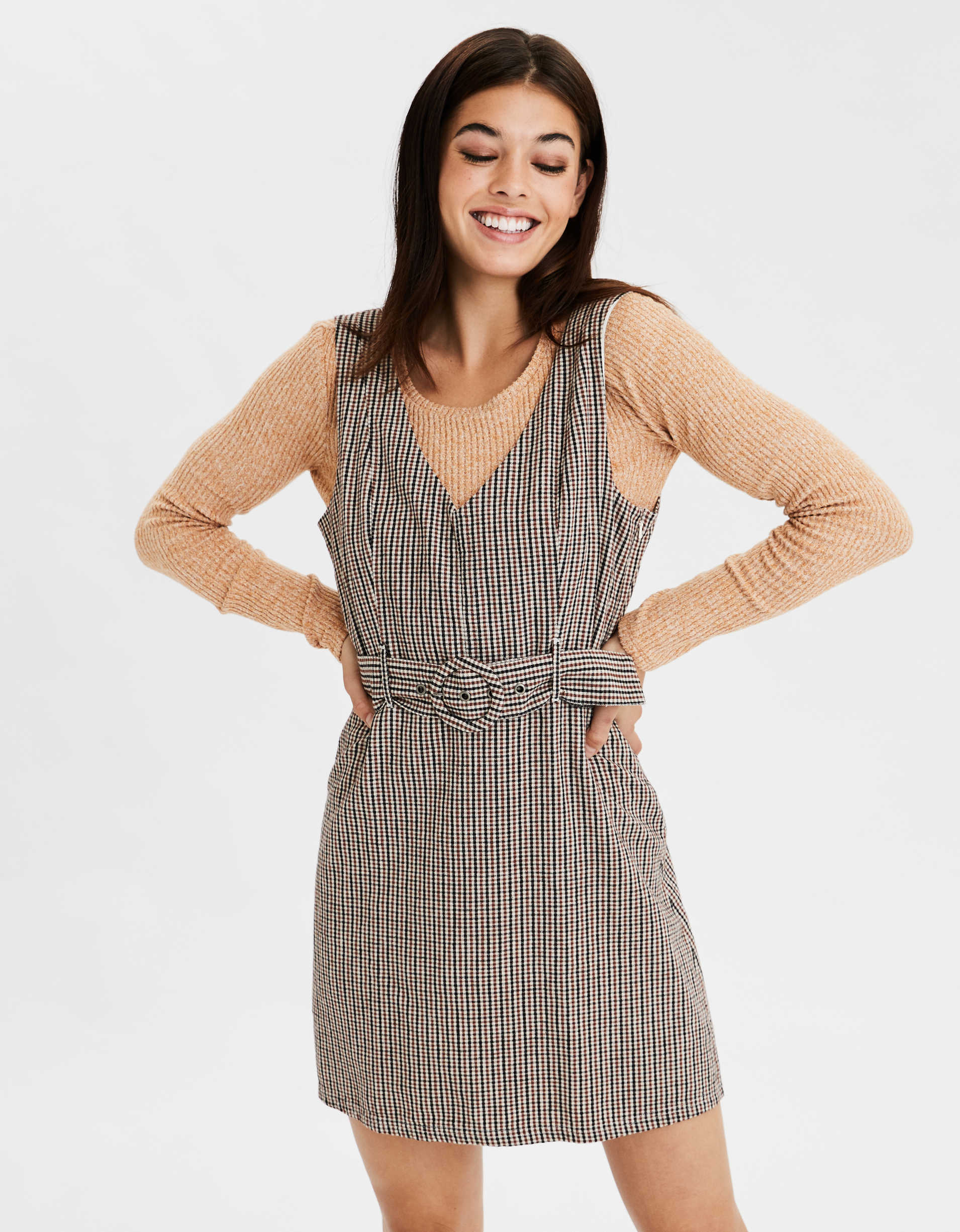 AE Plaid Belted Mini Dress