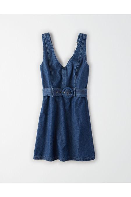 70s Dresses – Disco Dress, Hippie Dress, Wrap Dress AE Denim Belted Mini Dress Womens Medium Wash M $26.97 AT vintagedancer.com